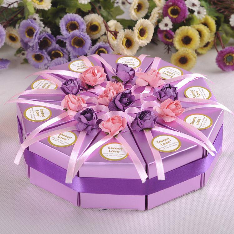 小号欧式创意三角蛋糕盒 喜糖盒 三角糖果盒批发 婚庆喜糖盒 多色