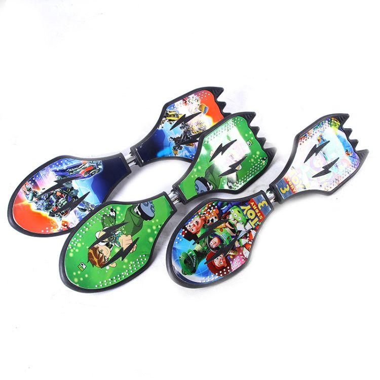 儿童两轮滑板初学者6岁成人闪光活力板青少年摇摆二轮游龙滑板车