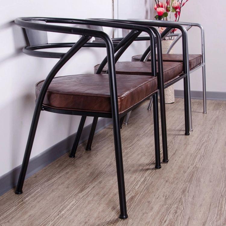 欧式家具创意铁艺咖啡厅休闲办公椅 复古靠背沙发皮垫餐厅椅子