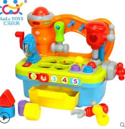汇乐907多功能工具台 儿童益智收纳盒 积木 仿真小工匠工具组合