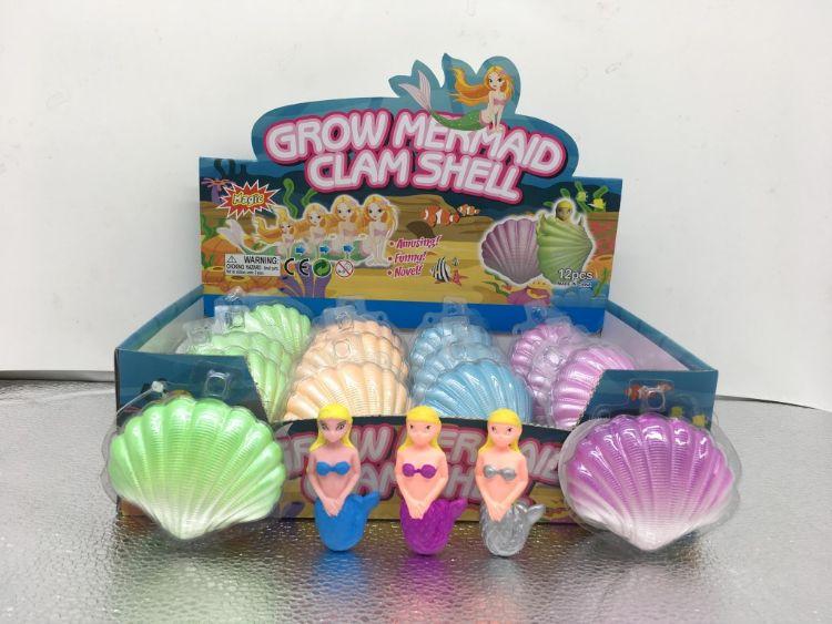 新款彩色美人鱼泡水孵化贝壳膨胀玩具复活蛋儿童益智玩具