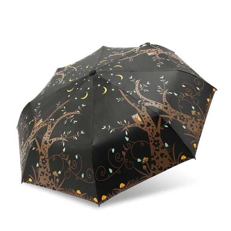 厂家直销新款黑胶太阳伞猫头鹰防晒晴雨伞小黑伞防紫外线三折伞