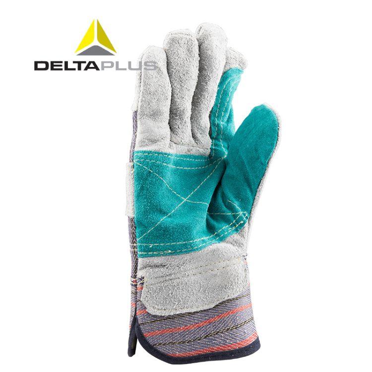 代尔塔204208牛皮防护手套耐磨损抗撕裂焊工用防穿刺帆布掌背手套