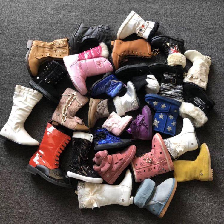 冬季大中小童棉鞋地摊处理库存鞋 真皮兔毛棉靴加厚保暖女雪地靴