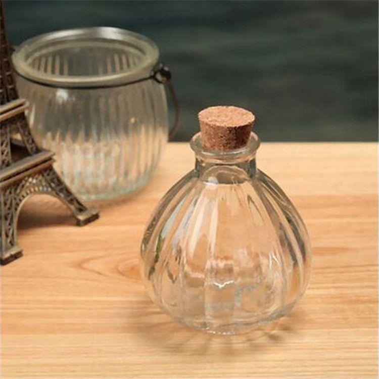 250ml无火香薰瓶 木塞插花瓶 复古南瓜香薰瓶 藤条香水分装玻璃瓶