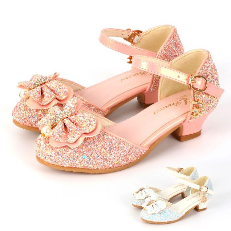 2017秋季新款女儿童高跟单鞋粉色甜美可爱公主鞋厂家批发一件代发