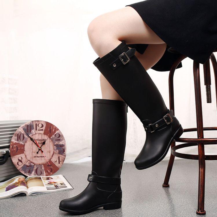 朋克风后跟拉链雨靴高筒雨鞋女式雨靴骑士马靴红拉链水鞋套鞋平跟