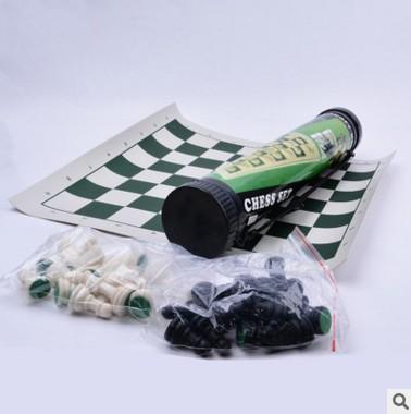 现货批发户外塑料国际象棋 益智旅游便携式筒装黑白棋子折叠棋盘
