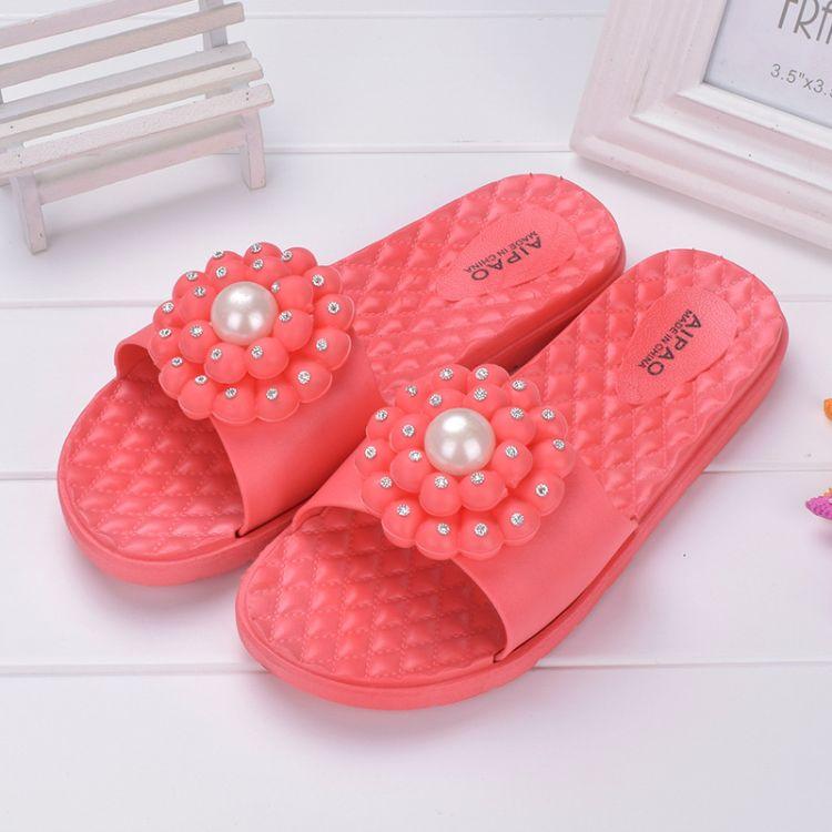 热销新款韩版女拖鞋 时尚百搭女鞋 珍珠平跟耐磨凉拖鞋 订货