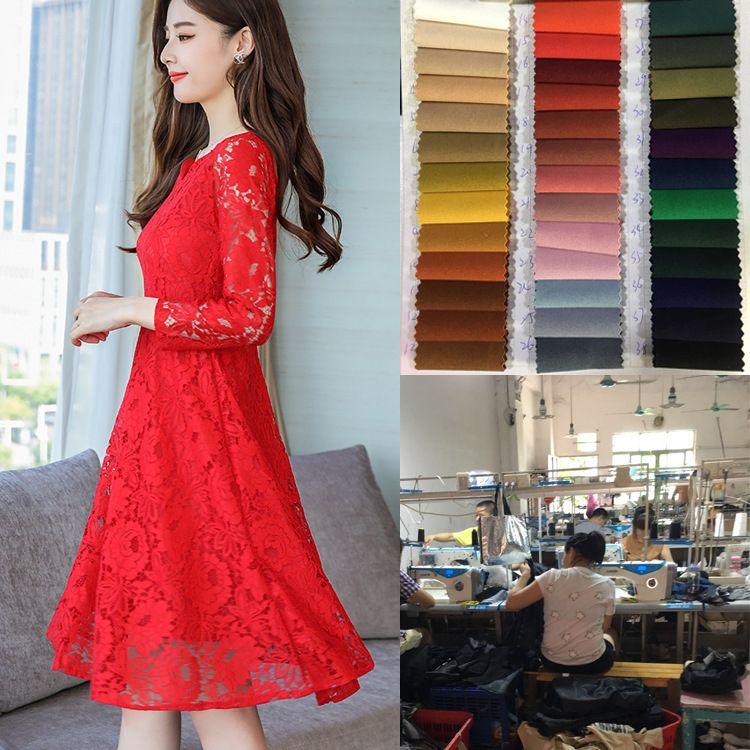 广州服装厂女装连衣裙加工定制新娘装连衣裙中长款显瘦提花蕾丝裙