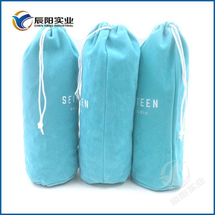 厂家大量生产高档圆底束口布袋 礼品酒瓶保温杯收纳拉绳绒布袋
