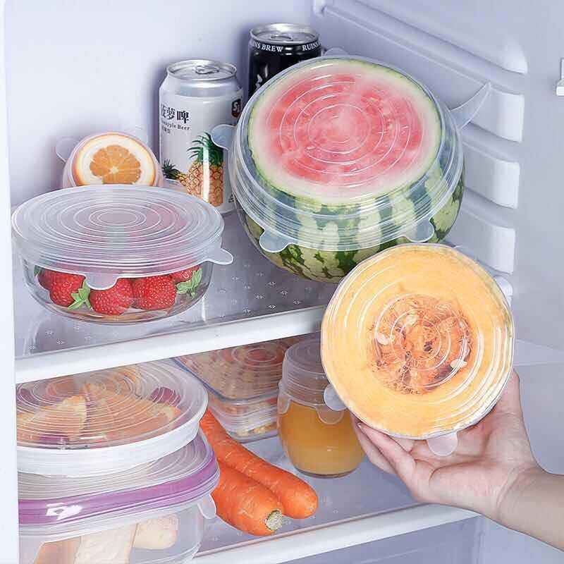 3保鲜密封盖硅胶6件套家用保鲜碗盖子反复通用多功能防尘盖六件套