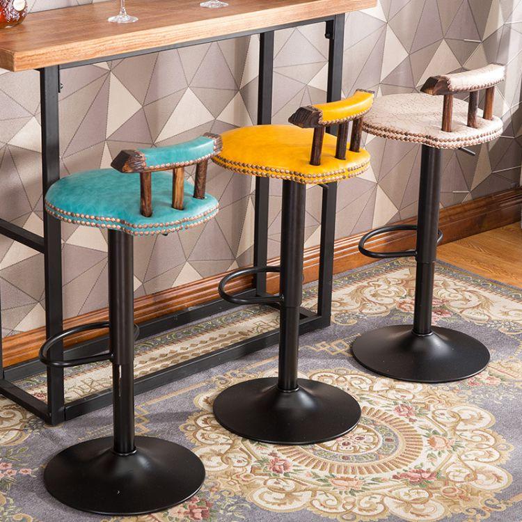 美式实木酒吧椅 复古实木吧台椅 升降旋转实木吧椅实木家具高脚凳