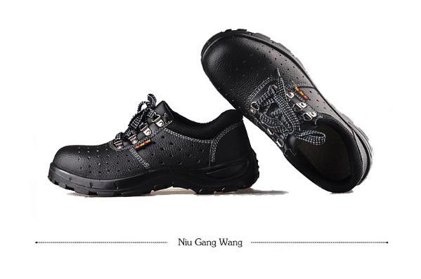 防砸防刺穿劳保单鞋 春夏透气孔防臭凉鞋 防滑耐磨黑色大底