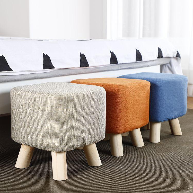 批发代发换鞋凳圆凳创意穿鞋凳布艺沙发凳板凳小凳子实木矮凳礼品