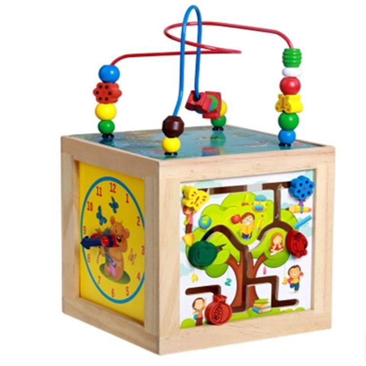 新款早教小号益智串珠百宝箱亲子交流木制多功能六面儿童玩具礼物