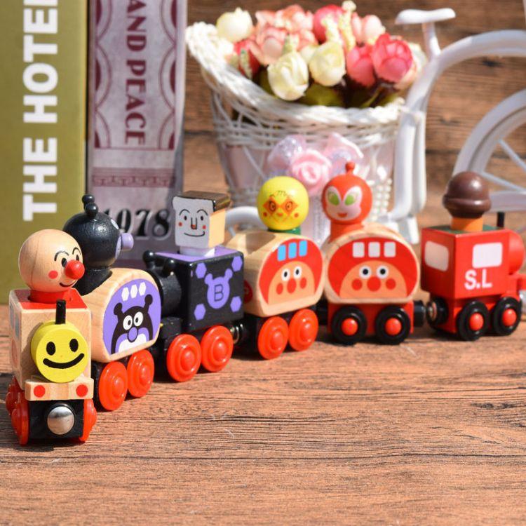 木质面包超人玩具汽车磁性组合套装小火车儿童趣味玩具生日礼物