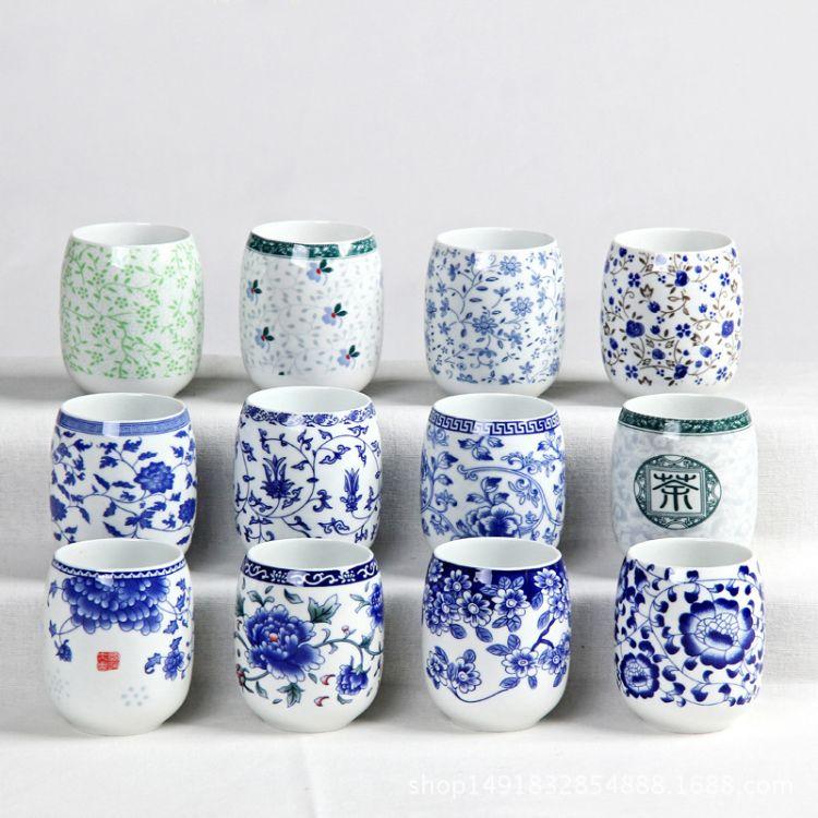 批发景德镇青花瓷茶杯大号陶瓷水杯日式杯180毫升茶碗厂家直销