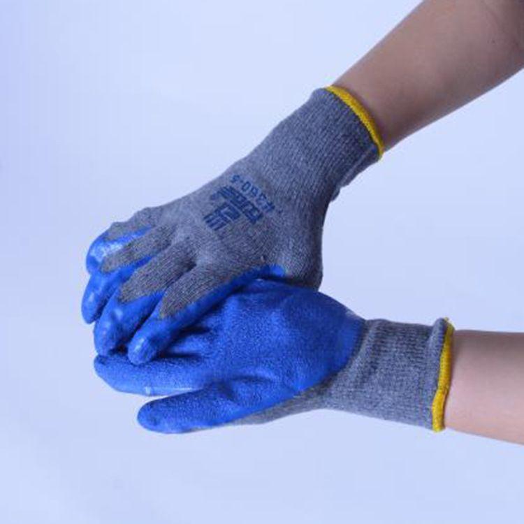 厂家批发劳保加厚耐磨挂涂浸胶手套 工业防割耐磨防滑防护手套