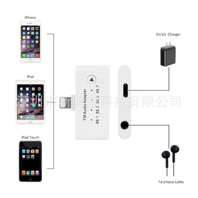 FM车载发射器iPhone8/X 音频转接器Lightning FM Audio adapte
