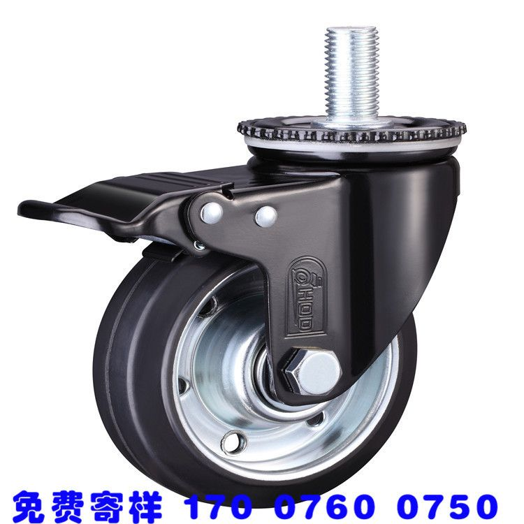 肥仔脚轮万向轮定向轮带刹车轴承工业橡胶ER轮推车转向轮子轱辘