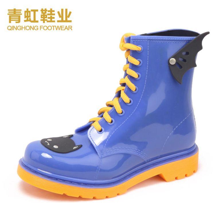 青虹鞋业 防滑女雨鞋 时尚女士水靴 外码保暖雨靴