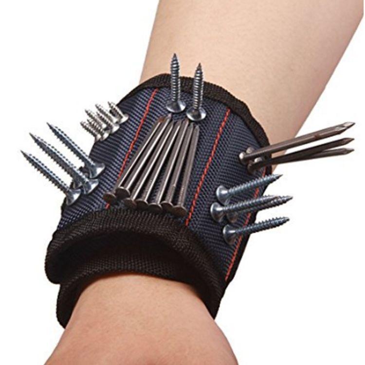 浙江迈越休闲厂家直销强力磁条腕带工作护腕吸附2格4块磁铁磁力腕