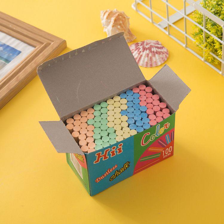 儿童彩色粉笔 老师教学用具学习用品多彩粉笔100支装厂家直销