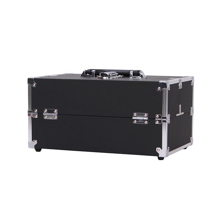 厂家定制纯色专业PU化妆箱 铝合金直角手提箱 大容量美妆箱