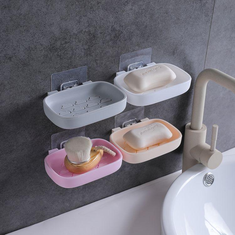 厂家直销新款双层免打孔肥皂盒可拆卸壁挂式沥水卫生间香皂盒批发