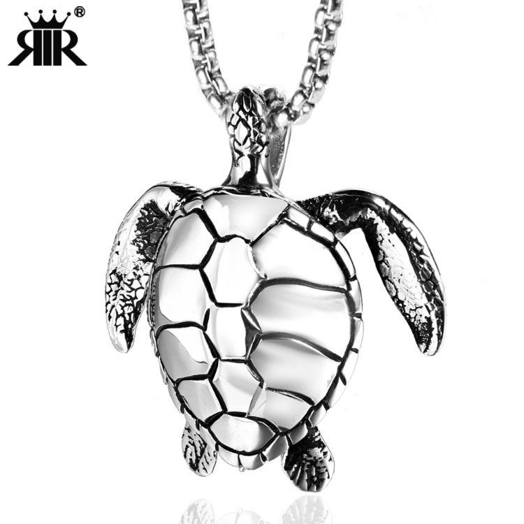 跨境货源不锈钢动物乌龟项链钛钢铸造小海龟神龟吊坠流行男士项链