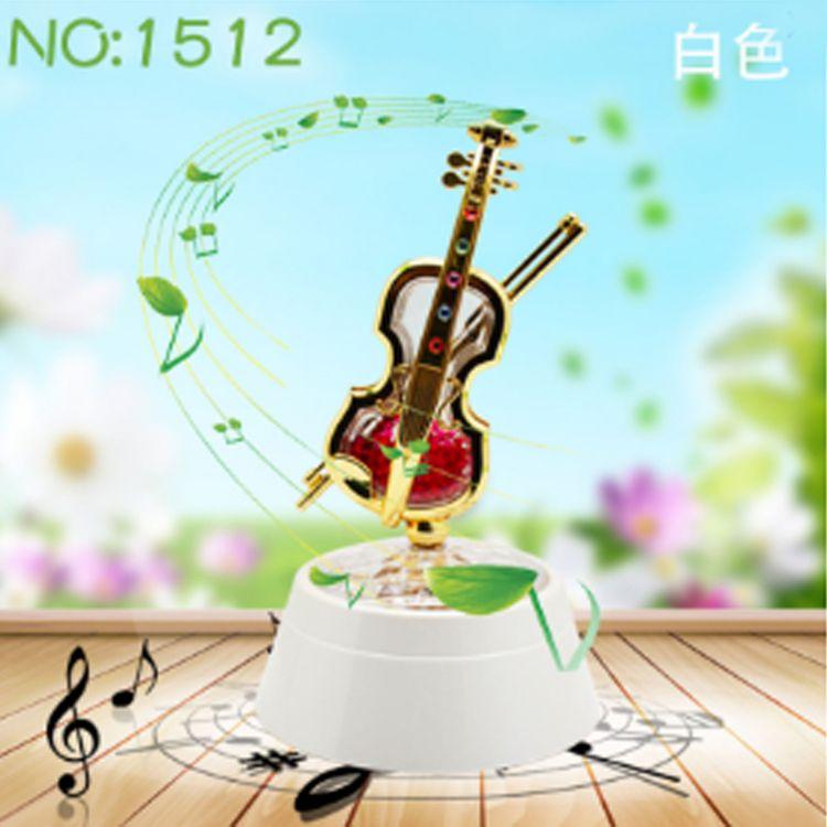 新款小提琴旋转投影八音盒 香珠八音盒 小提琴八音琴 浪漫八音琴