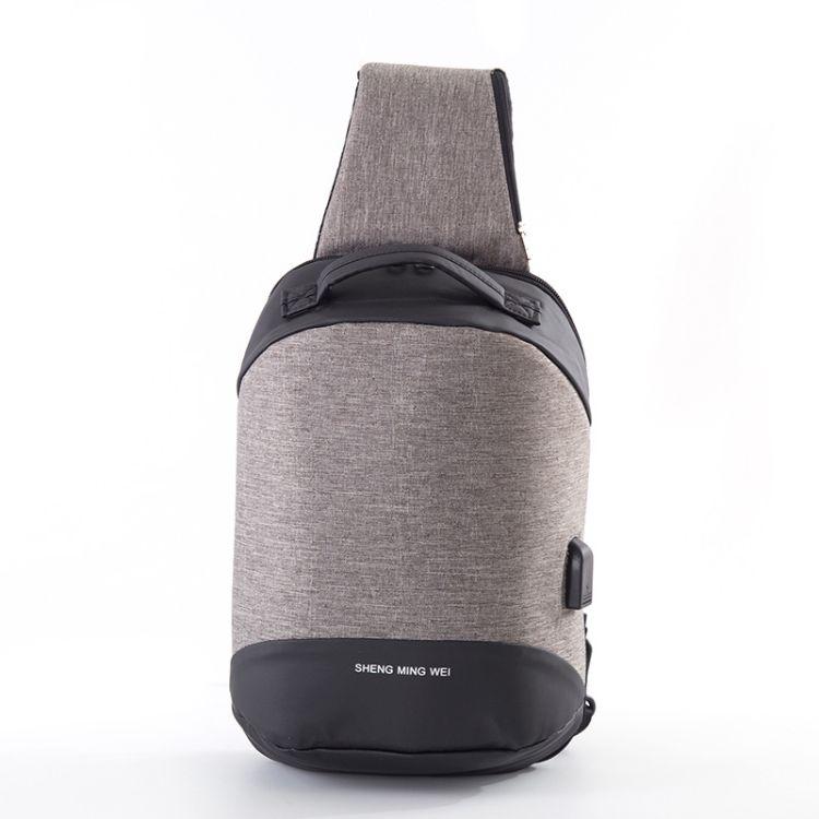 2018新款胸包时尚潮流 带耳机孔USB接口男士单肩斜跨包 厂家直销