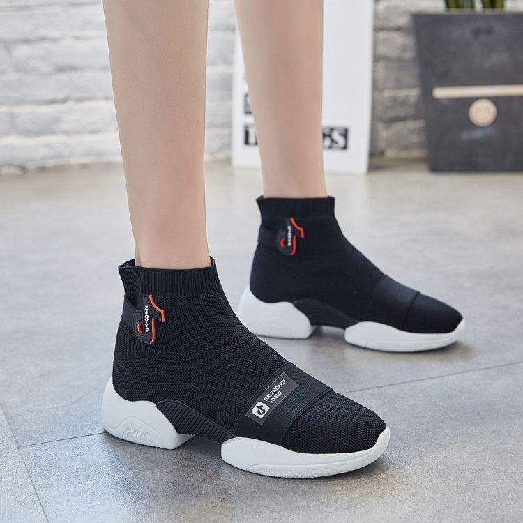 秋季新款ins超火袜子鞋女透气弹力高帮袜靴学院风休闲运动高帮鞋
