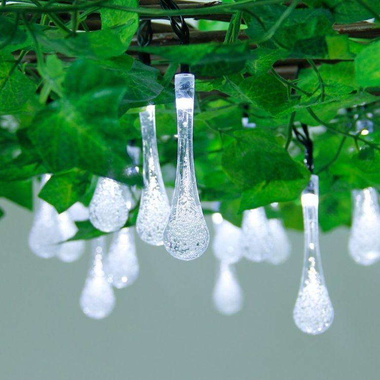 亚马逊30LED水滴太阳能灯串 防水雨滴太阳能灯串花园亮化圣诞灯