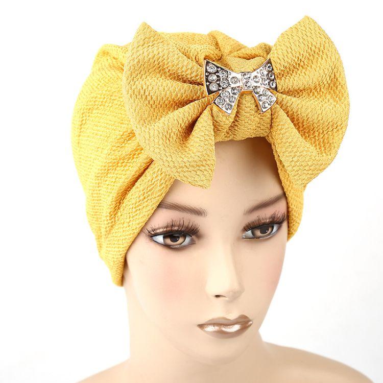 速卖通新款头巾帽 印度帽 可拆卸蝴蝶结金属配件 欧美外贸热卖