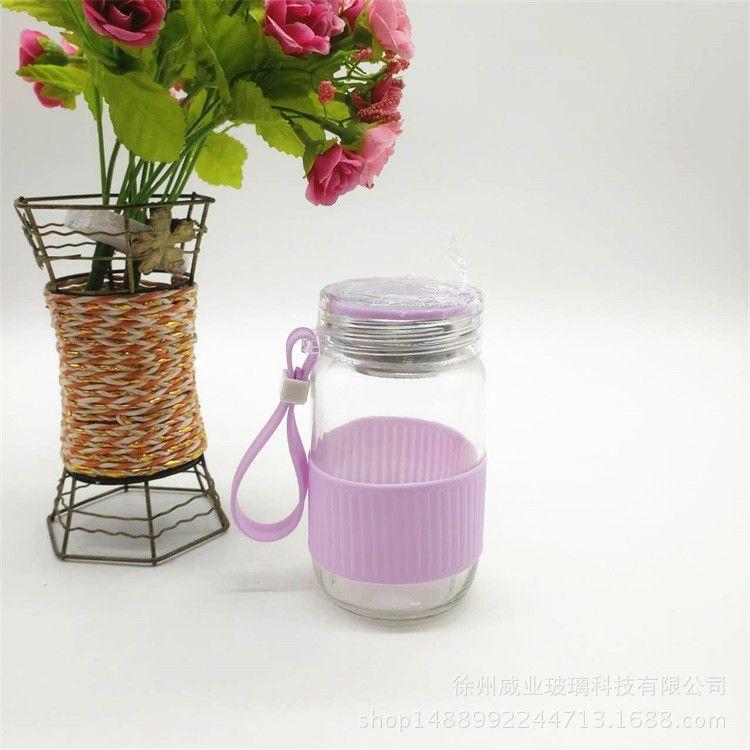 创意欧彩玻璃杯 呆萌儿童兔子水杯男女学生 玻璃水杯 随手杯