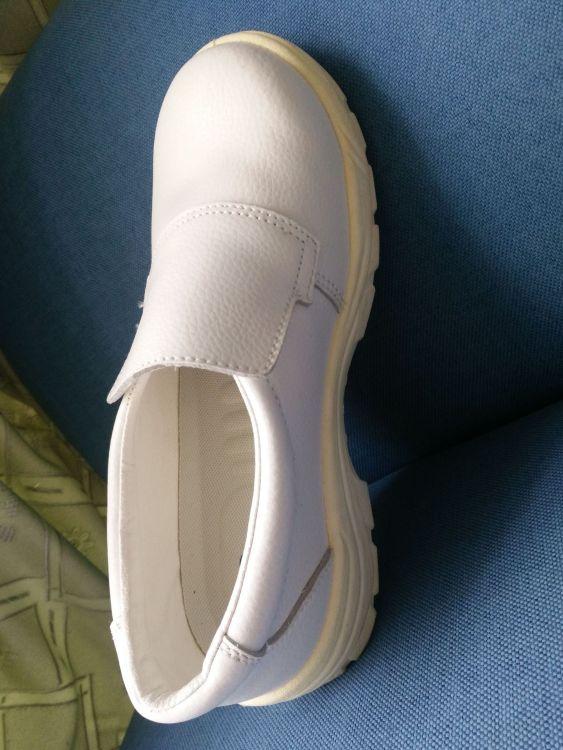 白色防砸防静电安全鞋 防滑防静电PU底厨工食品制药环境洁净工鞋