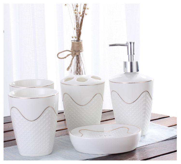 创意洗漱用品套装 卫浴洗漱用具 新居浴室用品 陶瓷卫浴五件套