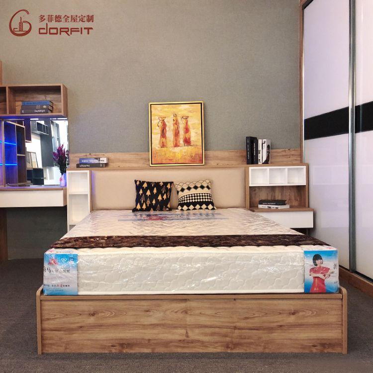 现代简约双人床 多功能板式高箱储物双人床卧室组合家具定制批发