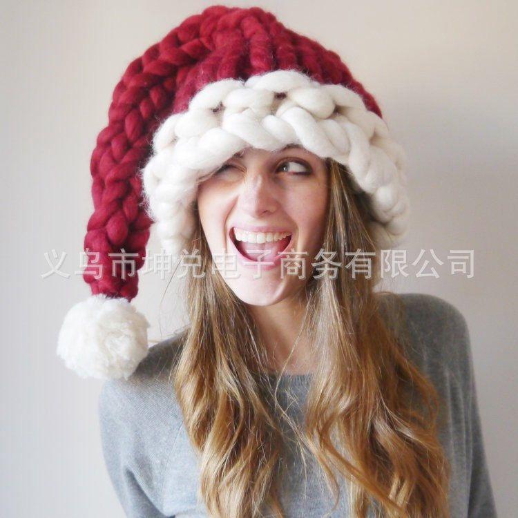 跨境货新品 万圣节亲子圣诞帽手工编织冰岛毛粗线帽子长尾巴帽子