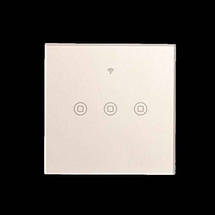 86型楼道工程大功率强启触摸感应面板开关  三路智能WIFI触控开关