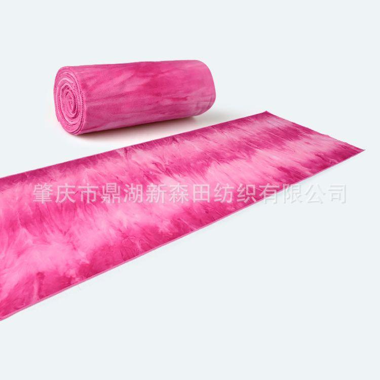 防滑瑜伽铺巾68X183CM初学者健身房瑜伽铺巾 扎染印花硅胶瑜伽铺