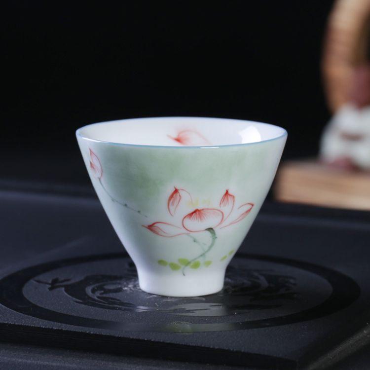 忠艺信厂家直销纯手工荷花手绘茶杯 精品功夫茶具 品茗杯单杯 定制茶具