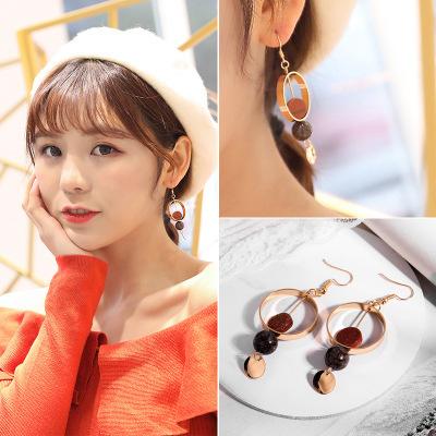 韩版气质少女吊坠复古时尚圆形流苏长款耳环无耳洞耳夹饰品女