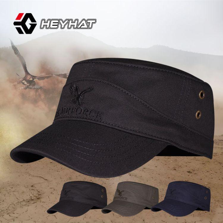 厂家直销男士平顶帽HEYHAT纯棉刺绣军帽户外遮阳帽韩版新款棒球帽