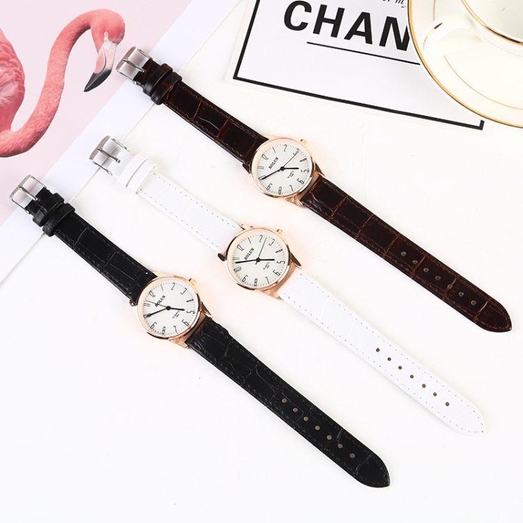 时尚仿皮带石英表 进口机芯镀膜玻璃合金壳表 圆形不锈钢针扣手表