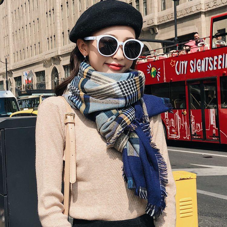 韩版女士保暖围巾 晴纶秋冬加厚加长围巾 提花格子流苏披肩批发