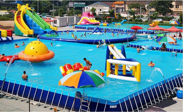大型户外移动PVC充气水上乐园设备 支架儿童蹦床水池