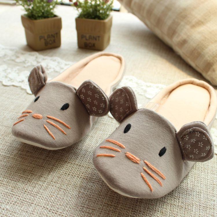 定制加工英国外贸室内家居木地板静音棉拖鞋 可爱卡通玩具拖鞋